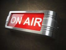 在空气红色发光的警告牌 纪录或广播 免版税图库摄影