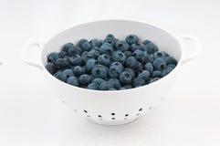 在空白滤锅的蓝莓在白色 免版税图库摄影
