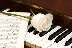 在空白玫瑰色的页的音乐 库存图片