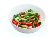 在空白碗的新鲜蔬菜沙拉 免版税库存图片