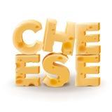 在空白背景写的字干酪 库存图片