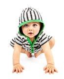 在空白背景查出的可爱的男孩 免版税库存照片