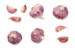 在空白背景查出的大蒜 健康的食物 顶视图 免版税库存图片