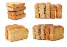 在空白背景查出的敬酒的面包 免版税库存照片