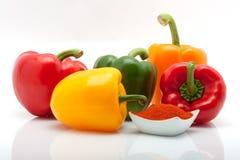 在空白背景查出的盘的红色,绿色,黄色和橙色胡椒和辣椒粉 免版税库存图片