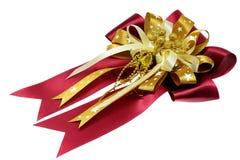 在空白背景查出的礼品弓 免版税图库摄影