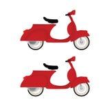 在空白背景查出的红色葡萄酒马达自行车 库存照片