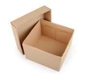 在空白背景查出的纸板箱 免版税库存照片