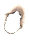 在空白背景查出的被烧的纸张 图库摄影