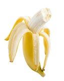 在空白背景的一个成熟香蕉 免版税图库摄影