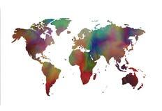 在空白背景的世界地图 免版税库存图片