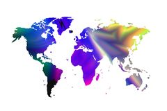 在空白背景的世界地图 库存图片