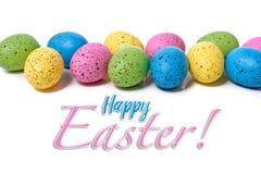 在空白背景的五颜六色的复活节彩蛋 库存照片