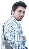在空白背景的印第安大学生。 免版税库存图片