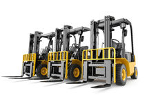 在空白背景的叉架起货车 免版税图库摄影