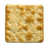在空白背景的唯一奶油色薄脆饼干饼干 库存照片