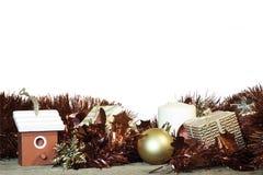在空白背景的圣诞节装饰 免版税图库摄影