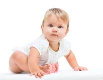在空白背景的女婴 库存照片