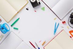 在空白背景的学校辅助部件 免版税图库摄影