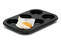 在空白背景的松饼平底锅 库存照片