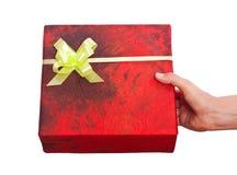 在空白背景的查出的圣诞节礼品 免版税库存照片