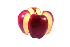 在空白背景的红色苹果中断 免版税图库摄影