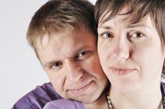 在空白背景的纵向成人夫妇 免版税库存图片