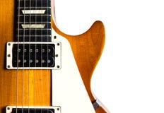 在空白背景的老电吉他 免版税库存照片