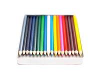 在空白背景的色的铅笔 免版税库存照片