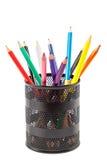 在空白背景的色的铅笔 免版税库存图片