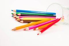 在空白背景的色的铅笔 库存图片