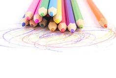 在空白背景的色的铅笔 图库摄影