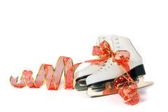 在空白背景的花样滑冰 免版税库存照片