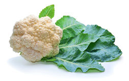 在空白背景的花椰菜 免版税图库摄影