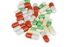 在空白背景的药片 库存图片