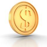 在空白背景的金黄美元硬币 免版税库存图片
