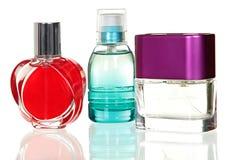 在空白背景的香水瓶 库存图片