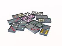 在空白背景的黑色塑料Domino 免版税库存照片