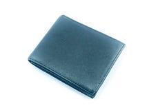 在空白背景的黑色钱包 免版税库存图片