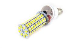 在空白背景的LED电灯泡 库存图片