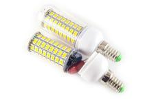 在空白背景的LED电灯泡 库存照片