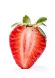 在空白背景草莓查出的一半 免版税图库摄影
