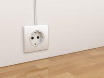 在空的墙壁上的电力插口 3d例证 免版税库存图片