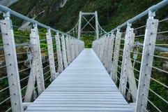 在空的桥梁的Onbody在天堂放,南新西兰/库克山国家公园 免版税库存照片