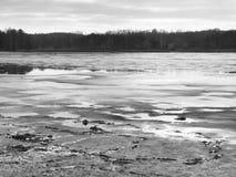 在空的池塘小山的和森林的哀伤的看法相反银行的。秋天忧郁症患者大气。 免版税库存图片
