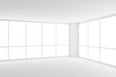在空的白色营业所室的角落的两个大窗口 免版税库存图片