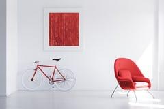 在空的空间的红色自行车 免版税库存图片