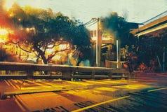 在空的街道风景的侧视图在日落 免版税库存照片