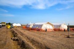在空的难民营的帐篷在Roeszke 库存照片