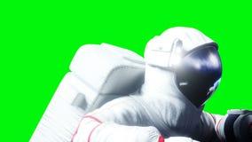 在空间的宇航员升空 绿色屏幕 现实4K动画 库存例证